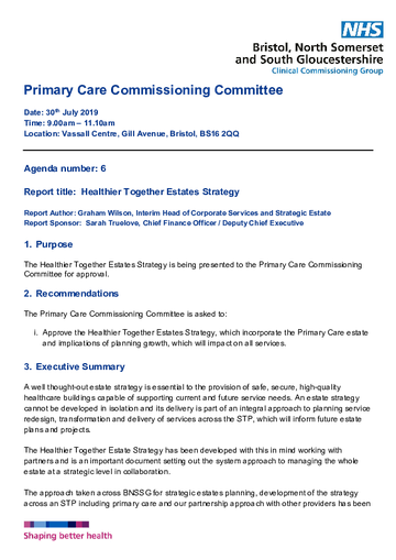 Primary Care Commissioning Committee Meeting 25 June 2019